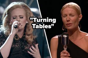 Singer Adele sings into a microphone with her eyes closed and Holly Holliday, wearing a one shoulder black dress, sings into an old timey microphone with her eyes closed.