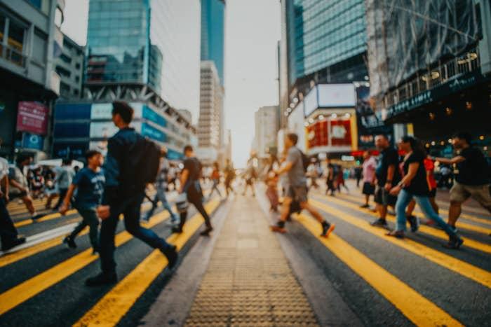 people on a city street