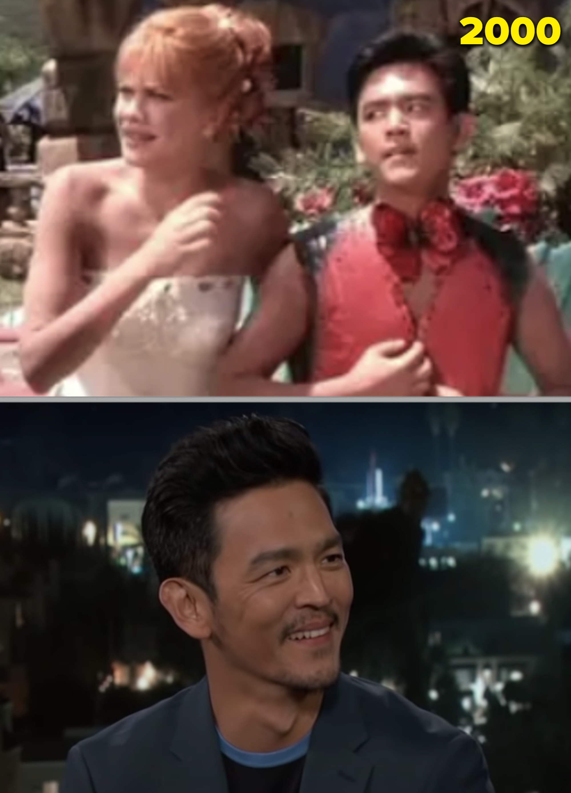"""John Cho as a valet in the """"Flintstones"""" movie vs. him being interviewed on a talk show in 2018"""
