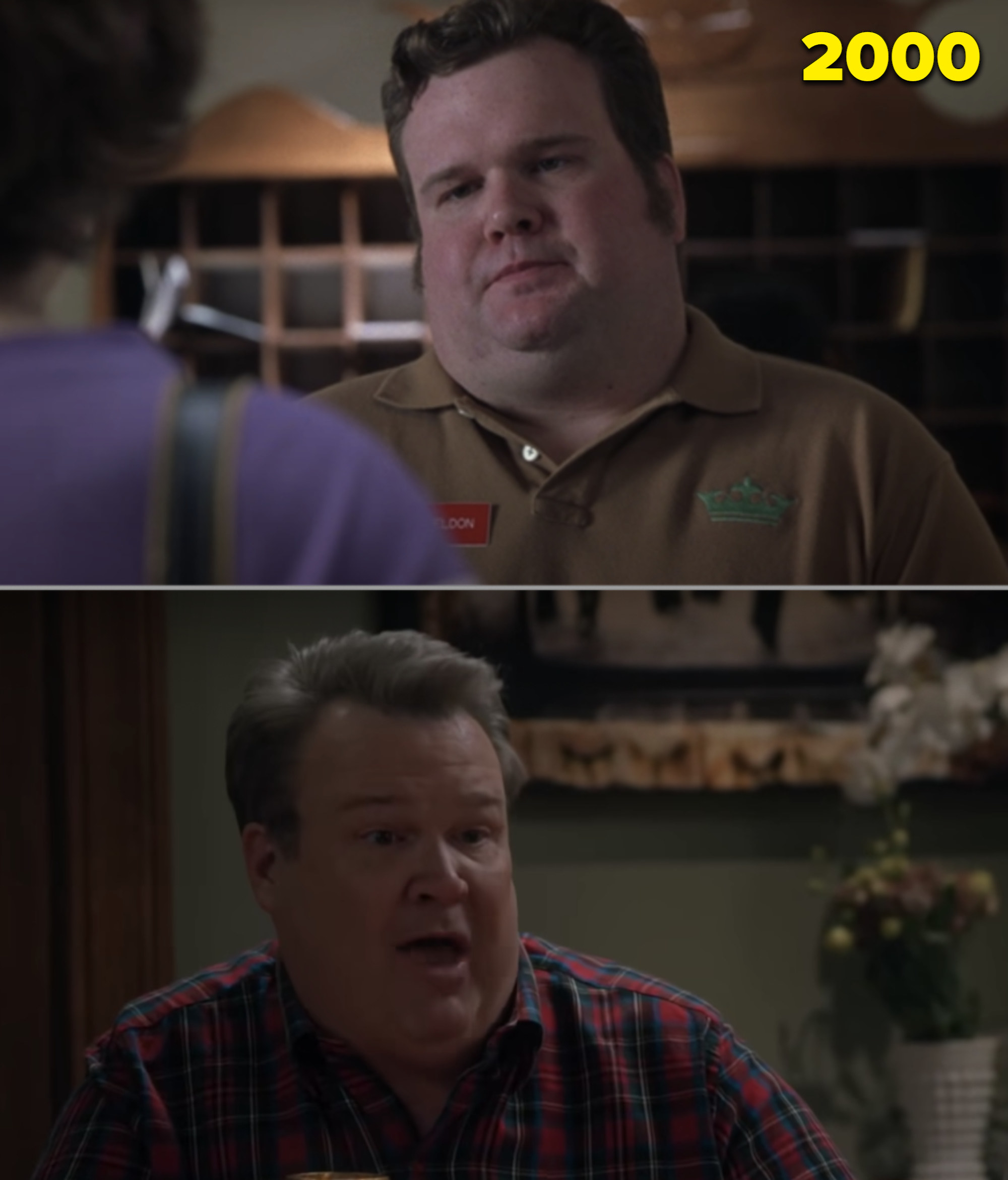 """Eric Stonestreet as a hotel clerk in """"Almost Famous"""" vs. him in the final episode of """"Modern Family"""""""