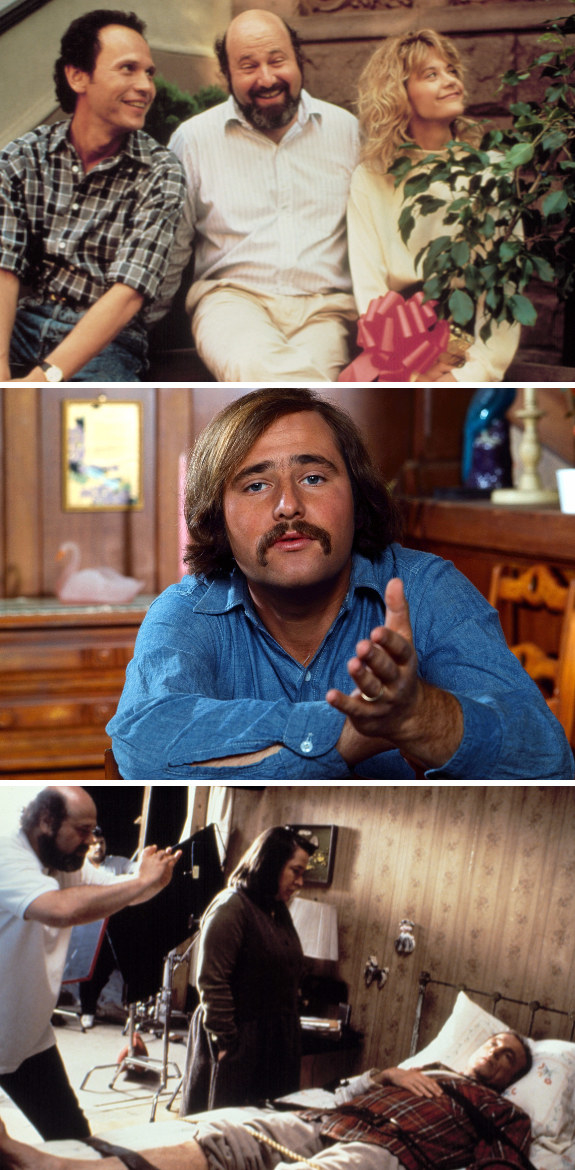 """Rob Reiner behind the scenes with Billy Crystal and Meg Ryan; Reiner on """"All in the Family;"""" Reiner directing Kathy Bates and James Caan in """"Misery"""""""