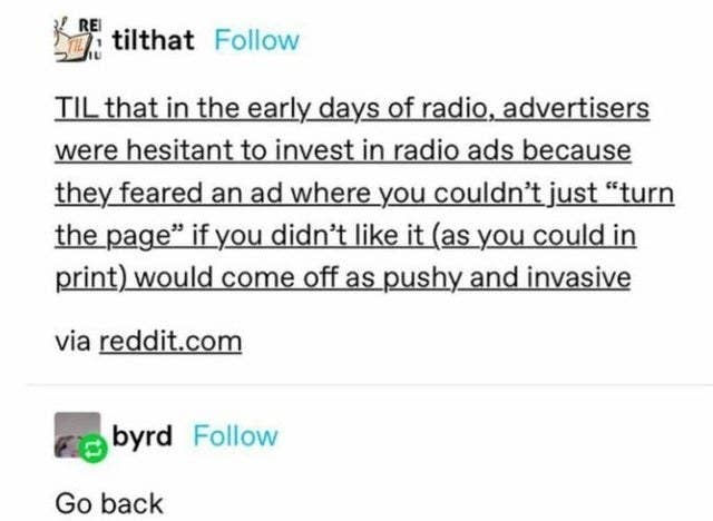 A tumblr post describing how advertisers were initially wary of radio ads because they seemed pushy and invasive