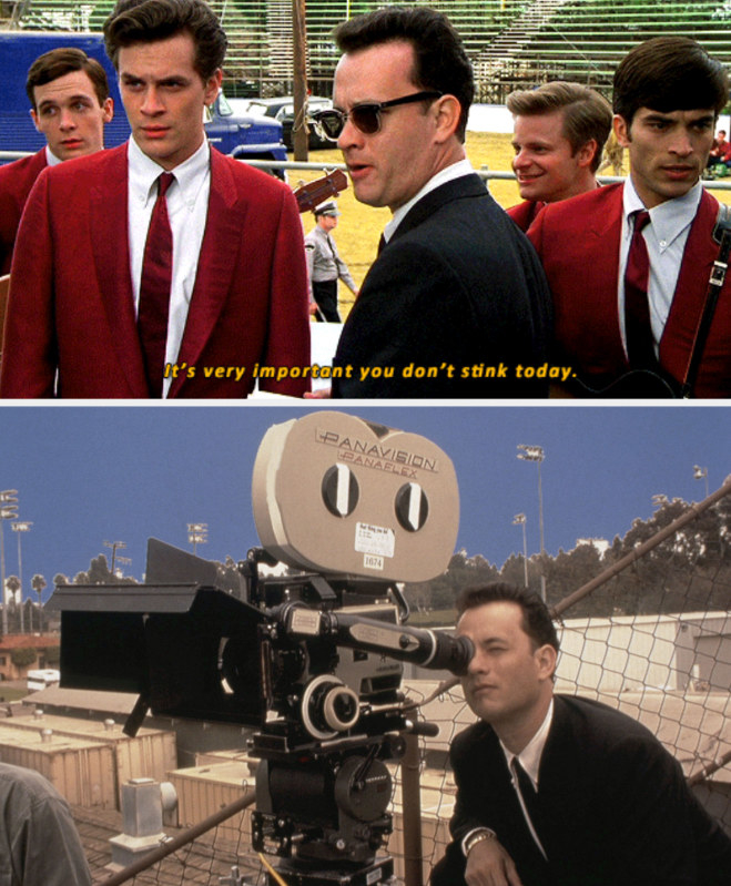 """Amos telling the band: """"It's very important you don't stink today;"""" Hanks behind the camera, directing """"That Thing You Do!"""""""