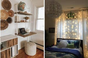 a wall mounted desk and a curtain of string lights