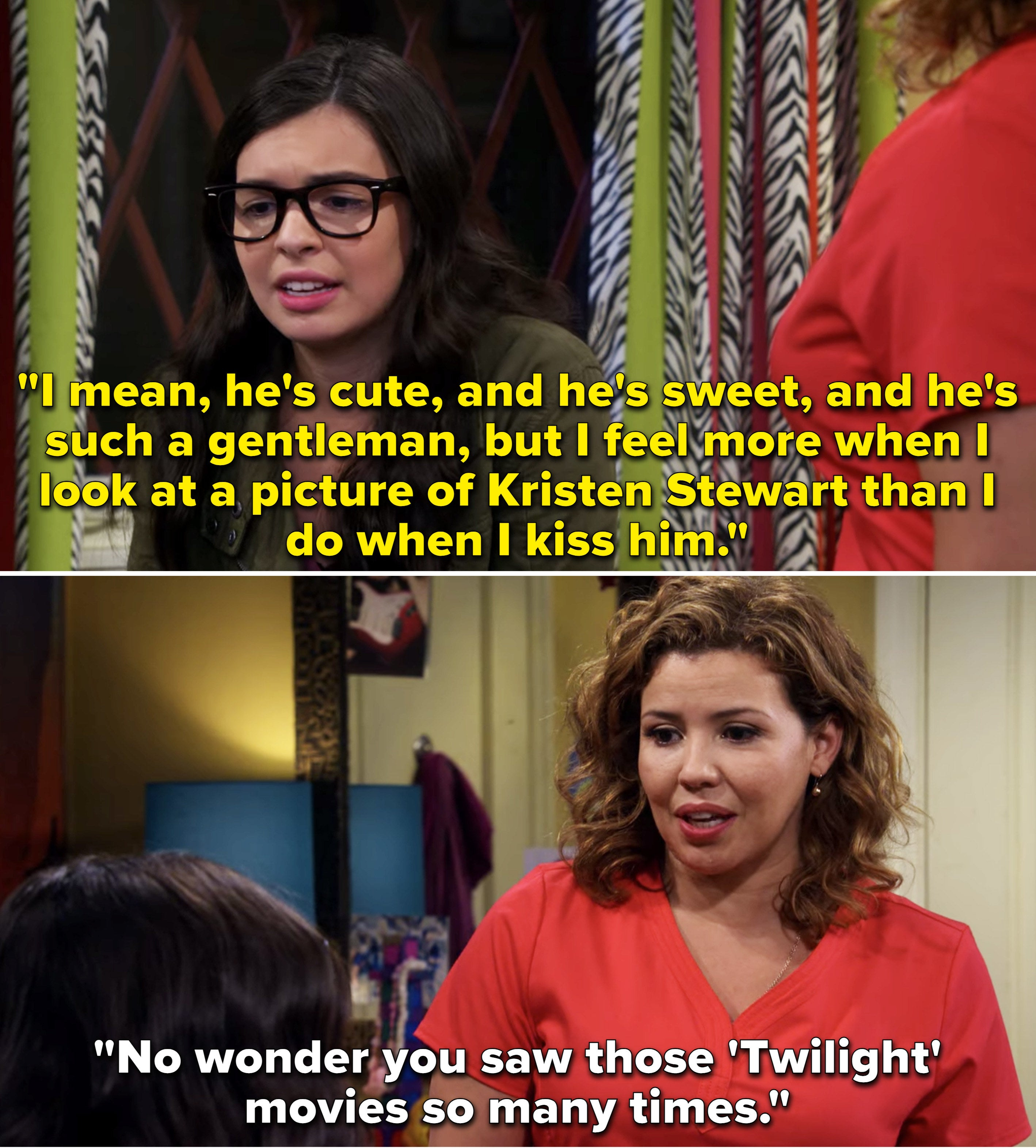 Elena telling Penelope she feels more when she looks at a picture of Kristen Stewart than she does when she kisses a boy