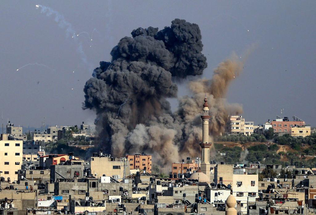 Gaza City being bombed