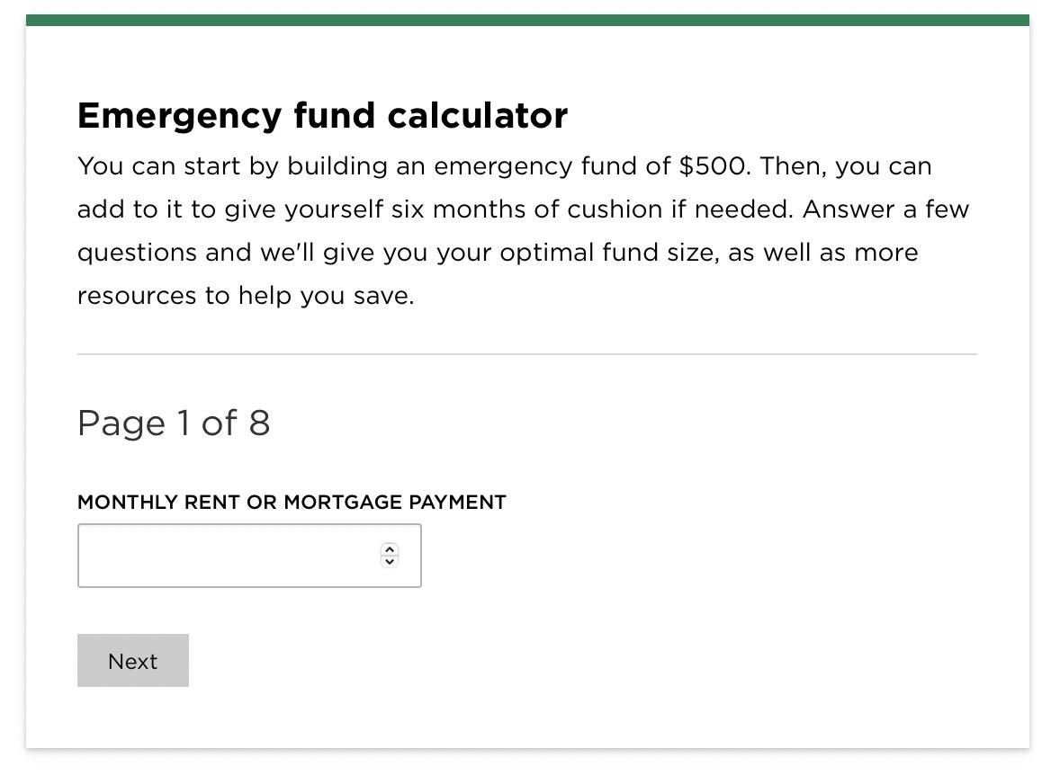 Screenshot of a free emergency fund calculator