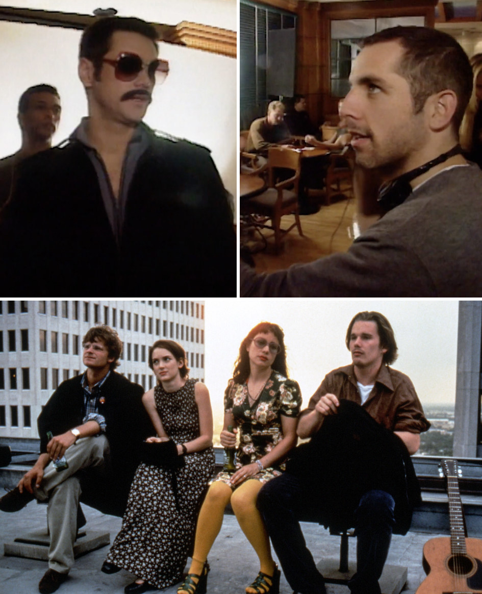 """Still directing Jim Carrey in """"The Cable Guy;"""" a still from """"Reality Bites"""" of the four graduates sitting on a roof"""