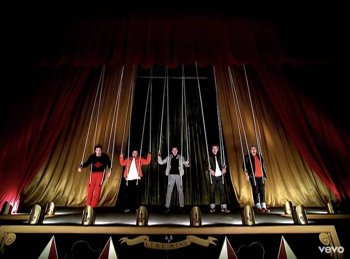 NSYNC tied up to marionette strings in the Bye Bye Bye music video