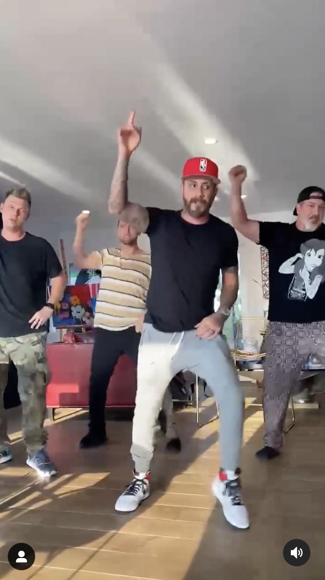 "AJ McLean, Nick Carter, Lance Bass, and Joey Fatone learning the ""Bye Bye Bye"" choreography"