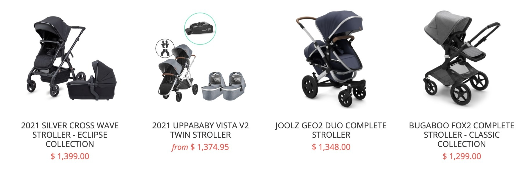 Screenshot of expensive strollers