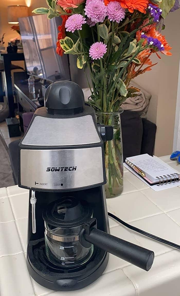 A reviewer's espresso machine