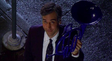 Ted shows up at Robin's window with blue French horn