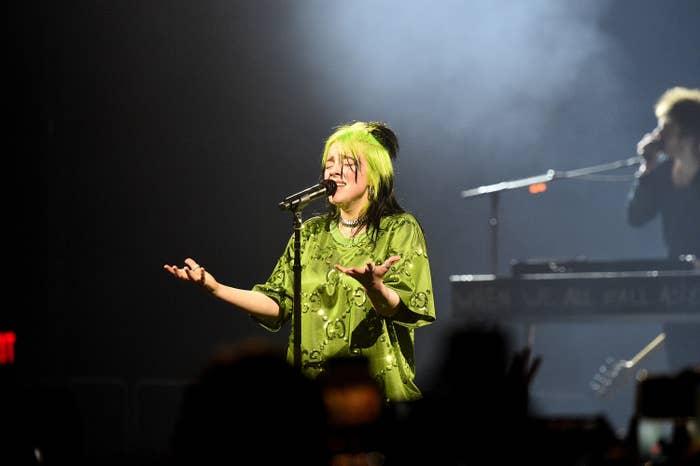 Billie performing onstage