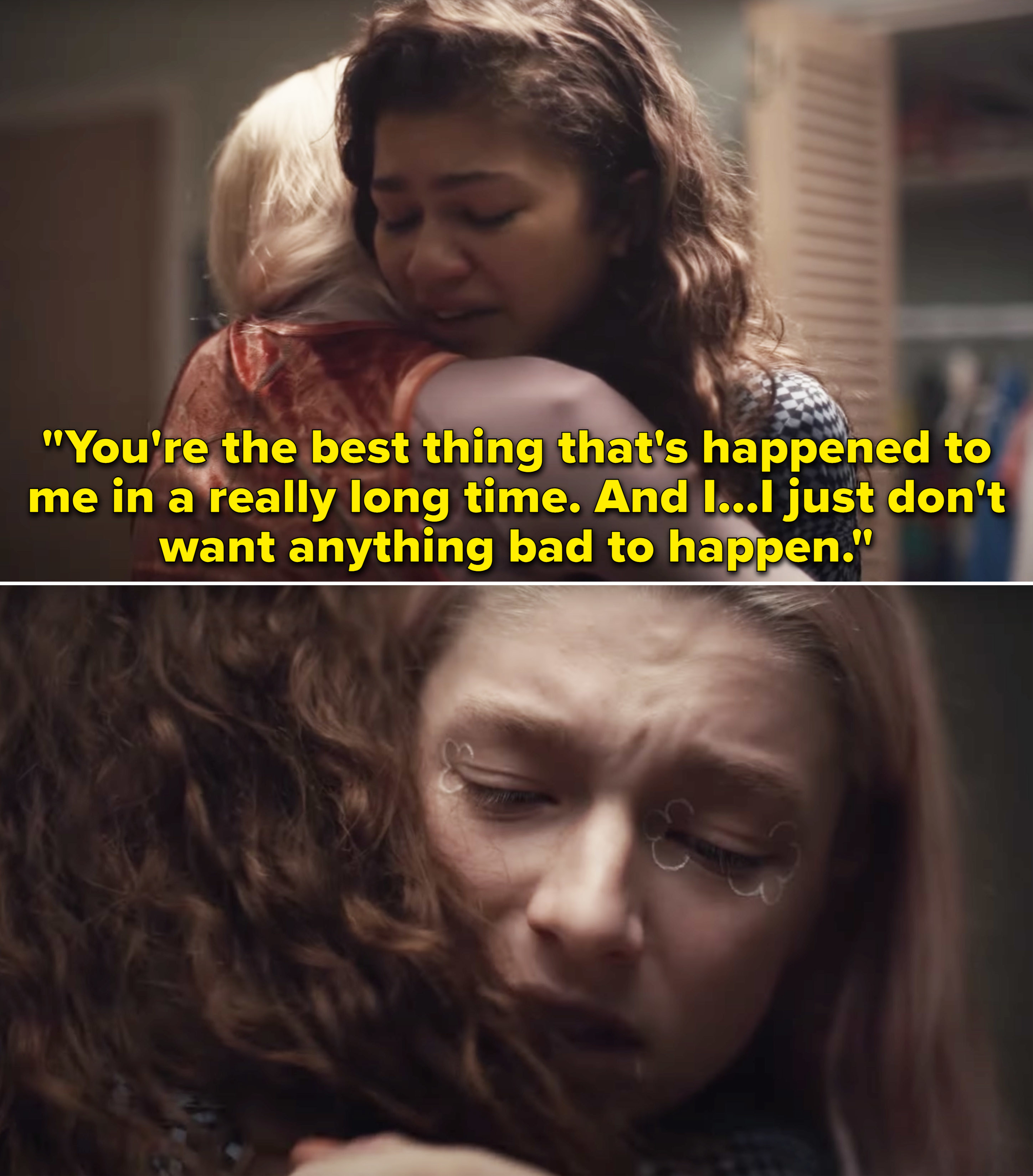 """Rue hugging Jules and saying,""""You're the best thing that's happened to me in a really long time. And I just don't want anything bad to happen"""""""