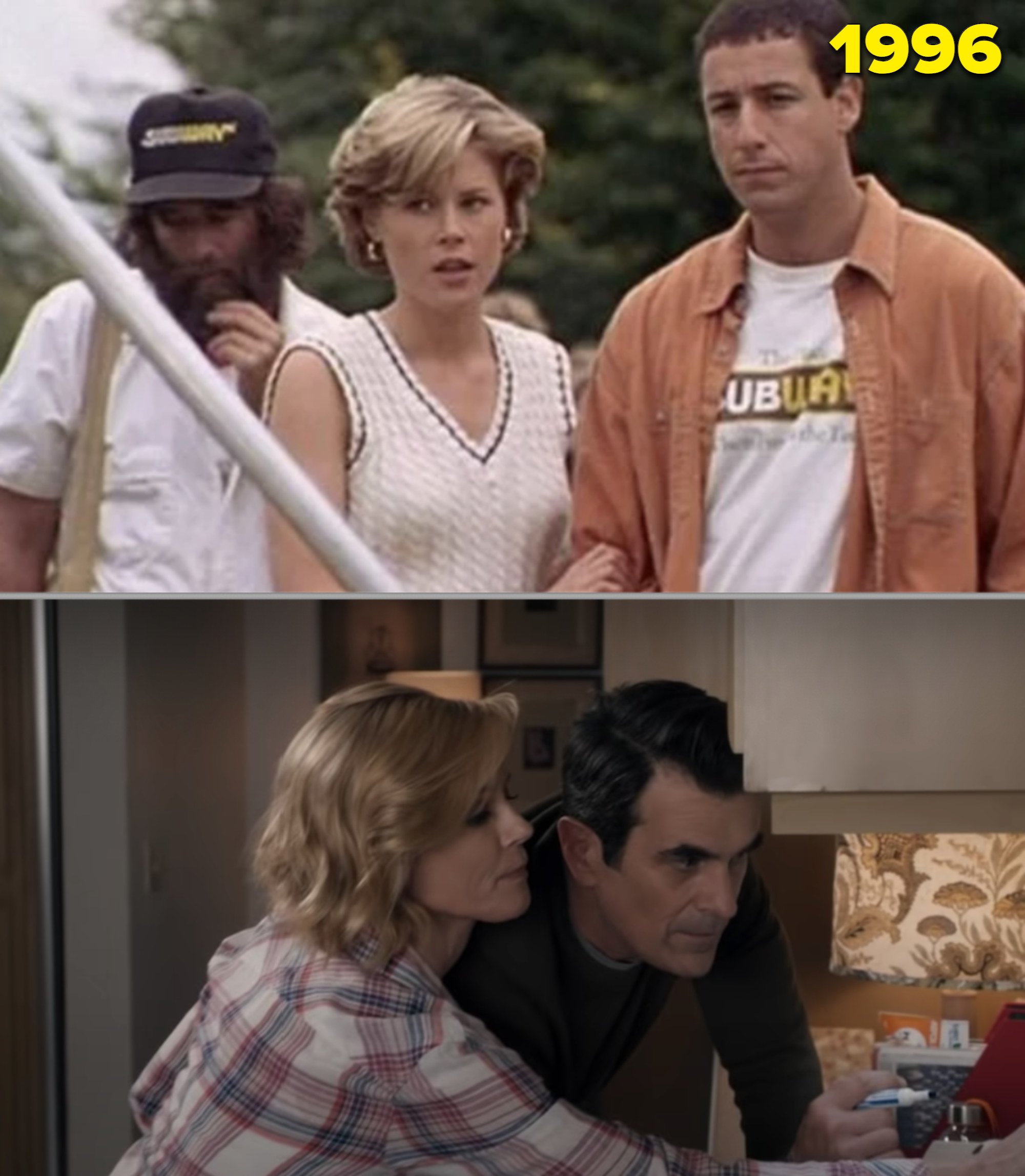 """Julie Bowen in """"Happy Gilmore"""" vs. as Claire in the final season of """"Modern Family"""""""
