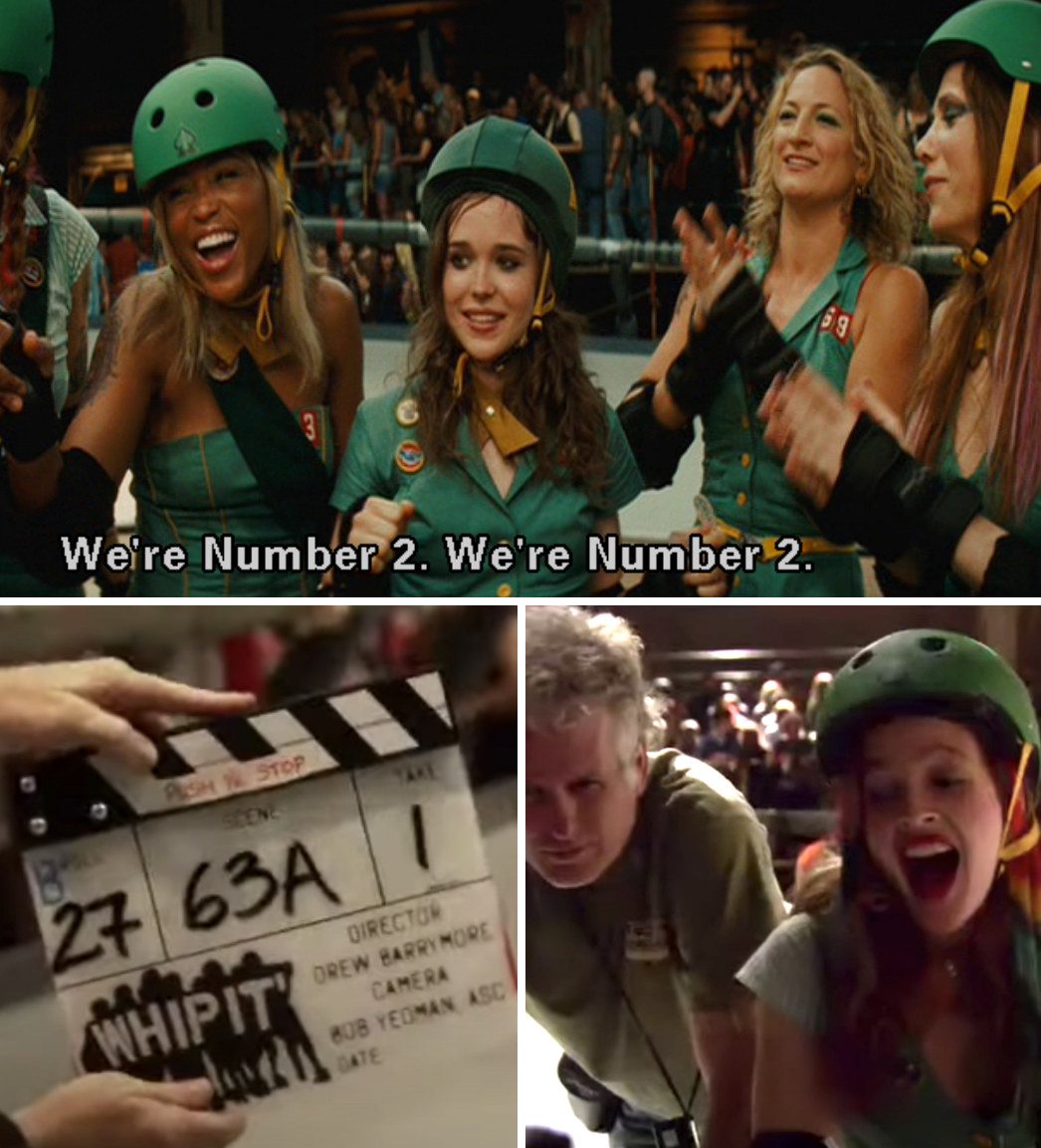 """Bliss, Maggie, and the rest of the group chanting: """"We're Number 2. We're number 2;"""" Drew Barrymore behind the scenes directing """"Whip It"""""""