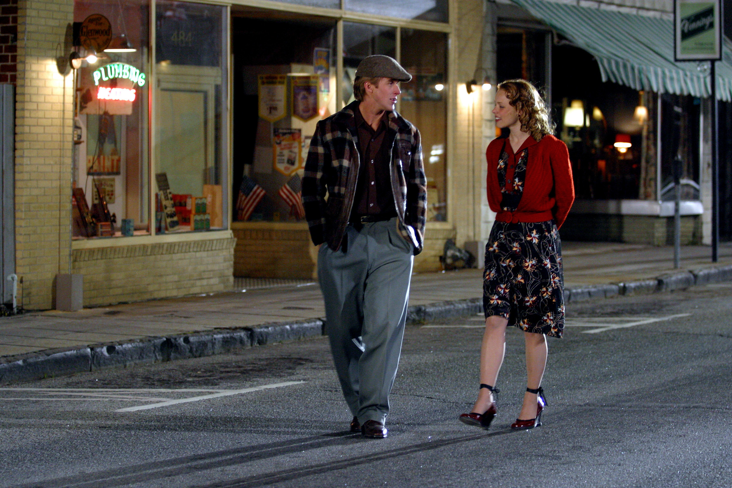 Noah and Allie walking down a road