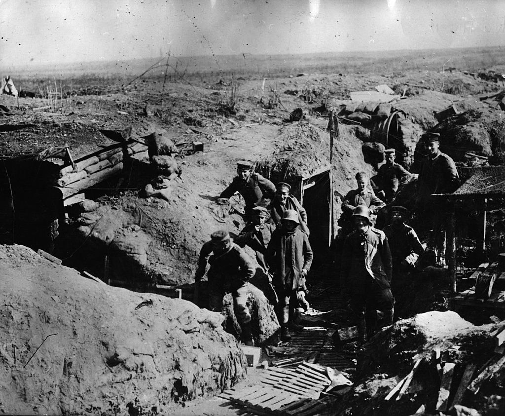 An old photo of the trenches in Somme