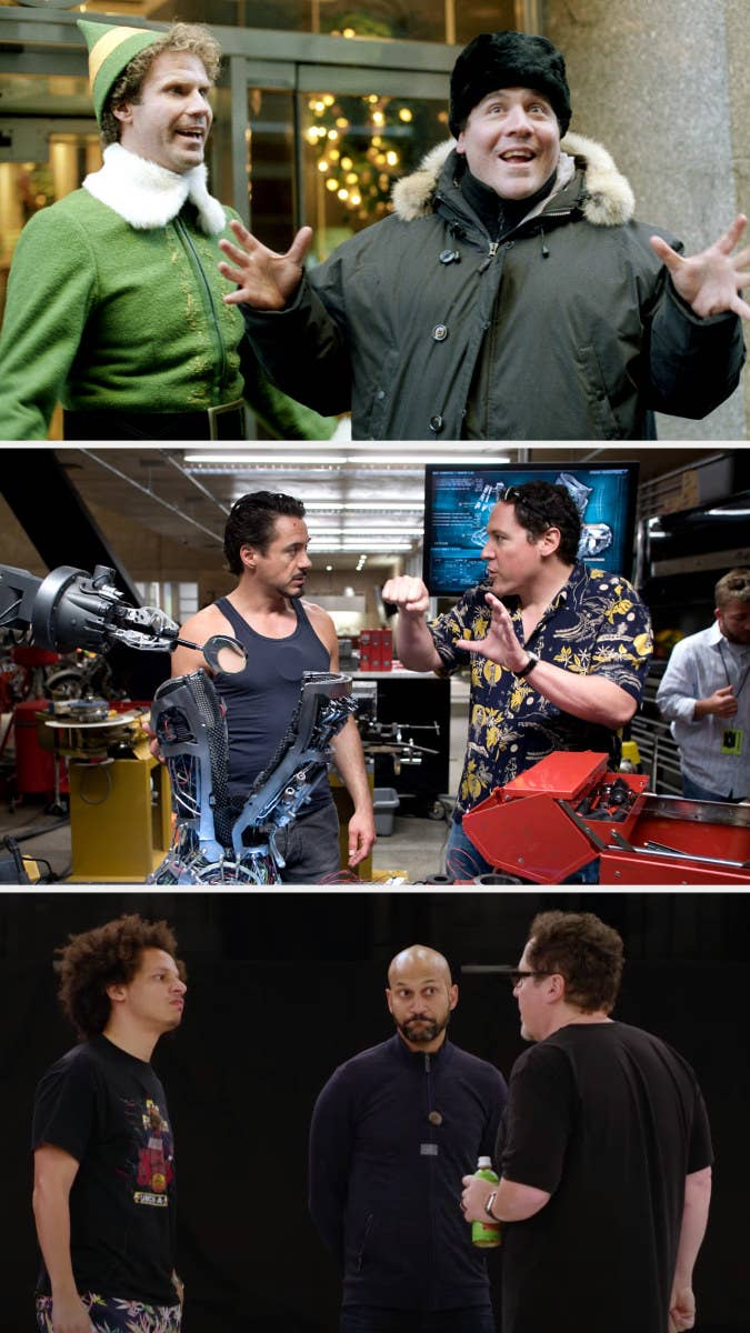"""Jon Favreau directing Will Ferrell in """"Elf;"""" Favreau directing Robert Downey Jr. in """"Iron Man;"""" Favreau directingKeegan-Michael Key and Eric Andre in """"The Lion King"""""""