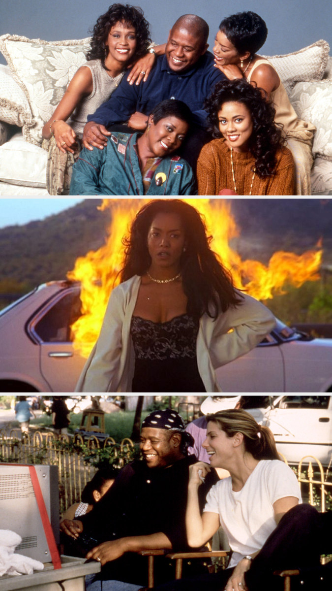 """Forest Whitaker taking a publicity photo with the casts of """"Waiting to Exhale;"""" Bernadine burning her husband's car in """"Waiting to Exhale;"""" Whitaker watching a playback with Sandra Bullock behind the scenes of """"Hope Floats"""""""