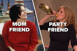 Monica from Friends being the mom friend and a woman chugging wine from the bottle being the party friend