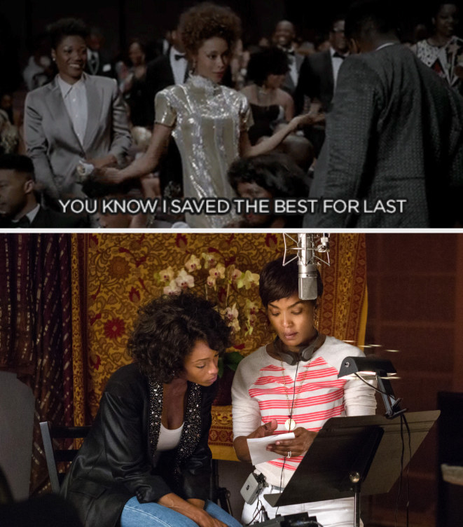 """Whitney saying at an awards show: """"You know I saved the best for last;"""" Bassett directing Yaya DaCosta in """"Whitney"""""""