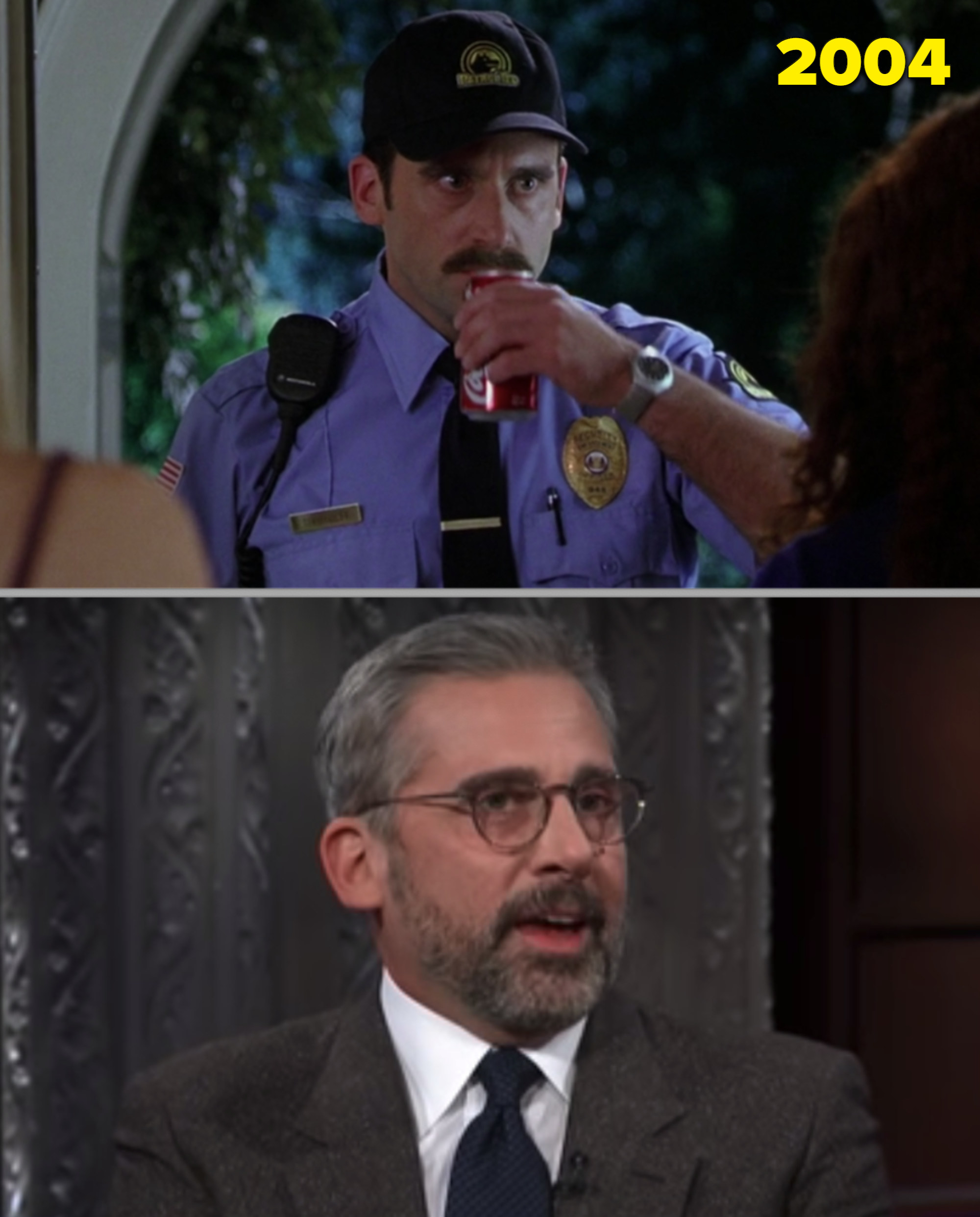 Steve Carell as the mall cob vs. him being interviewed by Stephen Colbert
