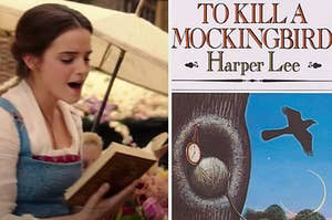 """Belle is on the left holding a book with """"To Kill A Mockingbird"""" on the right"""