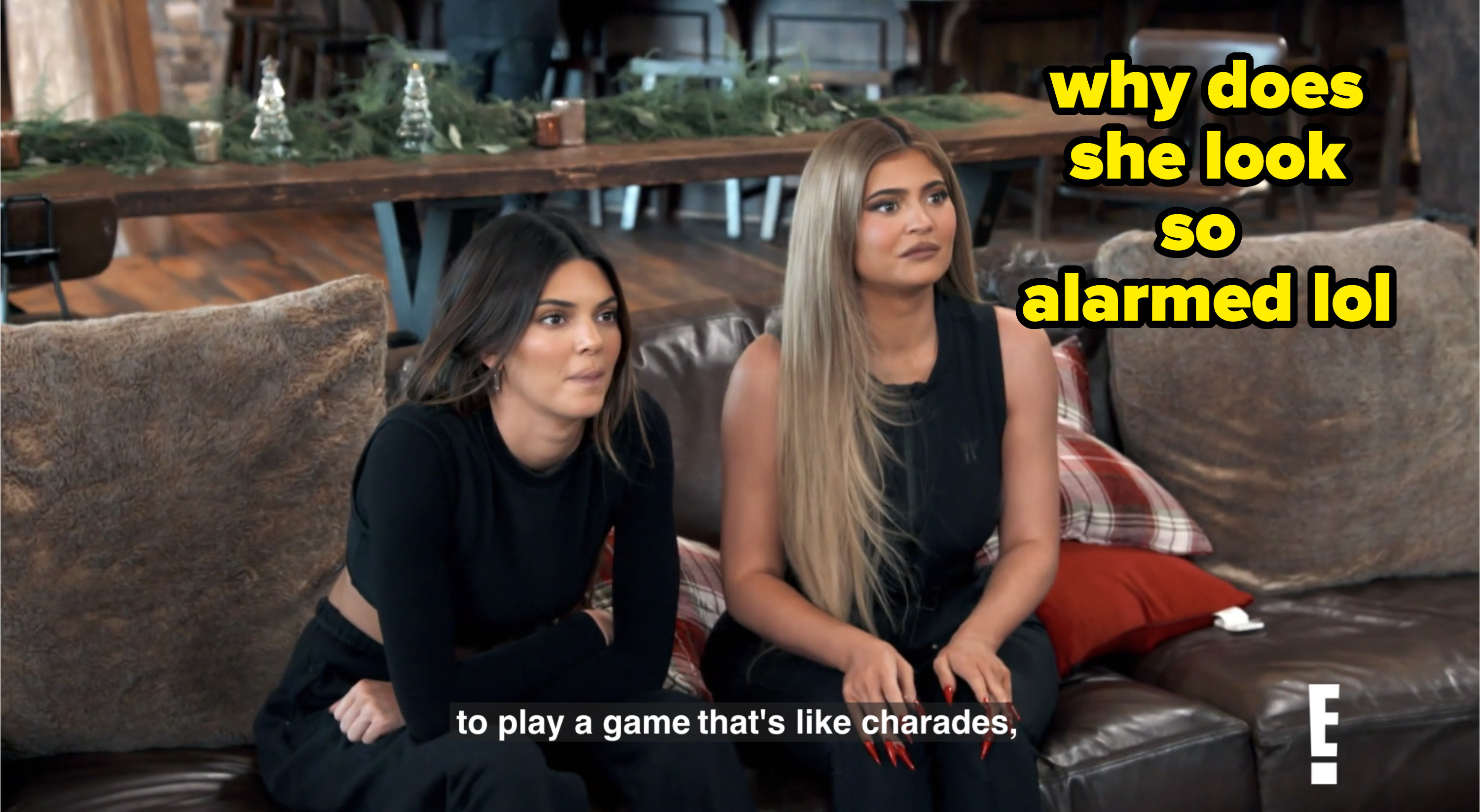 Kendall and Kylie on couch