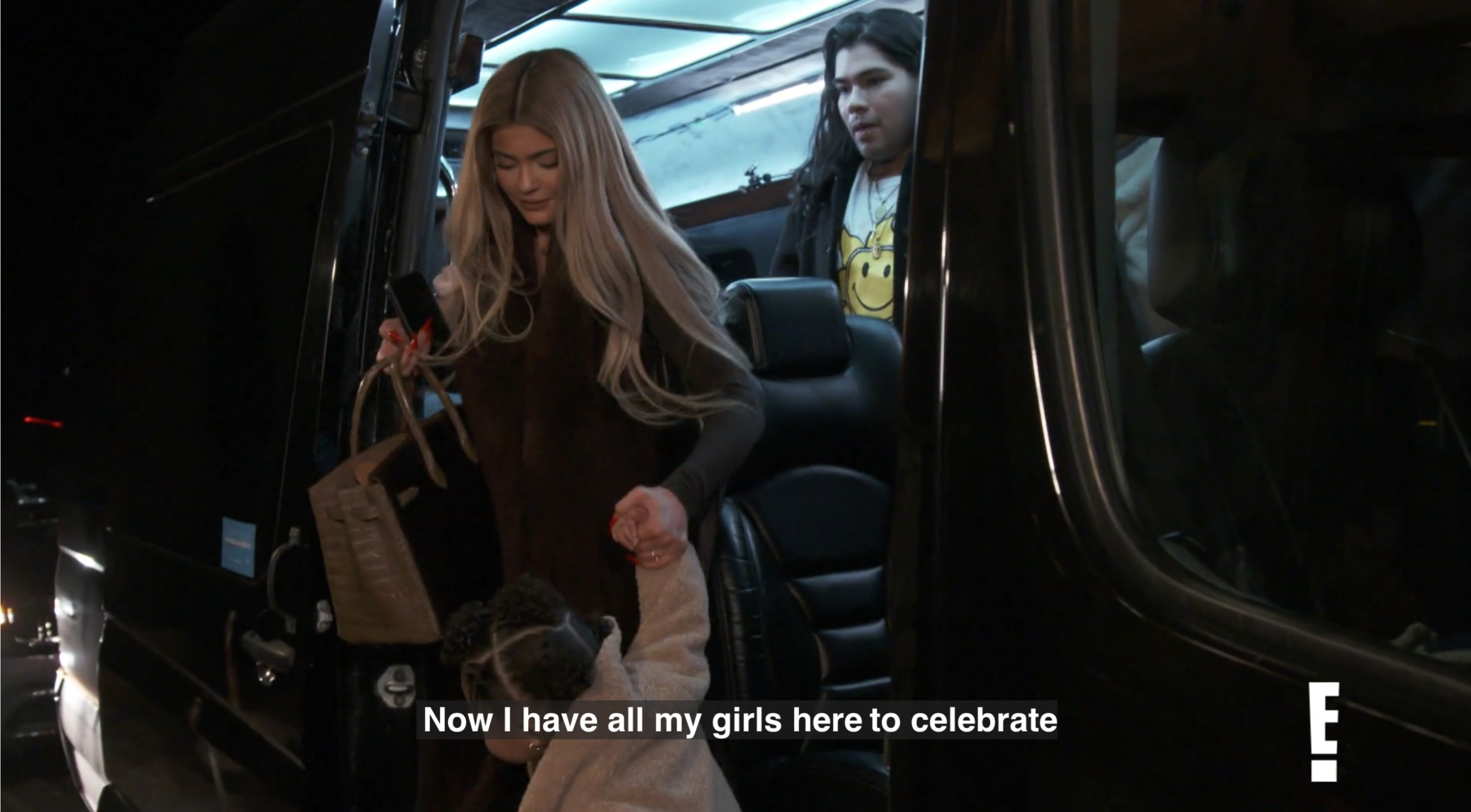 Kylie arriving with Stormie