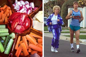 Left: A sectioned cheese platter filled with cheese, fruit and vegetables; Right: Kath and Kel going for a walk