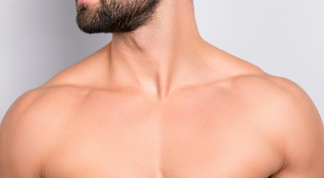close-up of man's collarbone