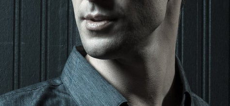 Close-up of man's jawline