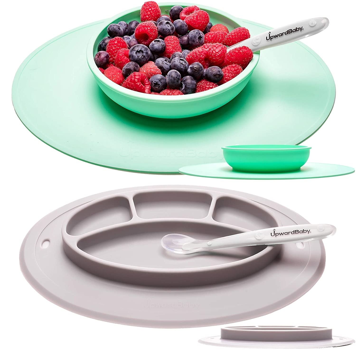 A picture of the plates with a mixtures of berries on one of the plates