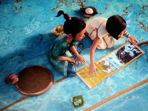 Bánh tét is shown while Raya looks at the map Namaari shows her. Tuk Tuk is on Raya's left