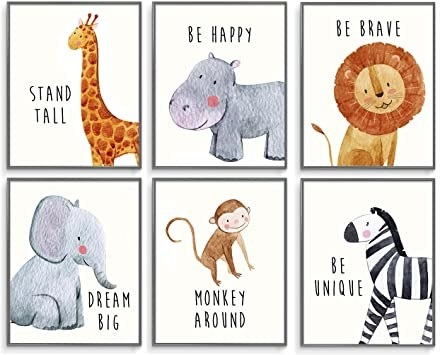 The set of nursery wall decor with different animals and fun phrases