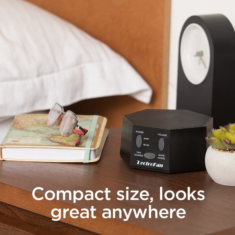 LectroFan styled on a nightstand