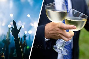 split image of a concert with people raising their hand on the left and a man holding a two cups of champagne on the right