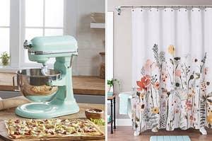 kitchenaid mixer, floral shower curtain