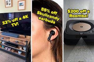 flat screen tv wireless ear buds and a robot mop