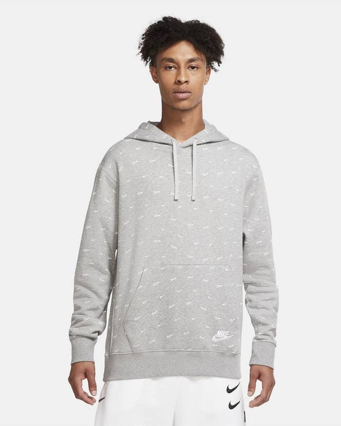 Grey hoodie on a model