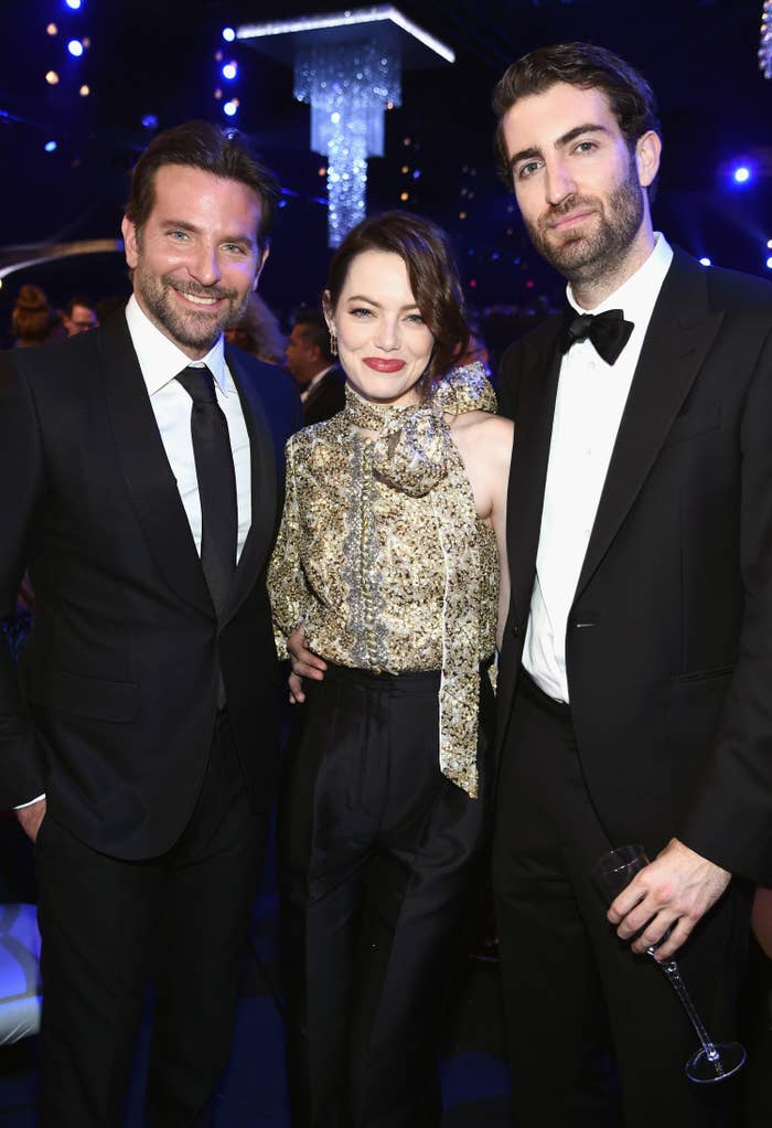 Bradley Cooper, Emma Stone, and Dave McCary during the 25th Annual Screen Actors Guild Awards at The Shrine Auditorium on January 27, 2019, in Los Angeles, California