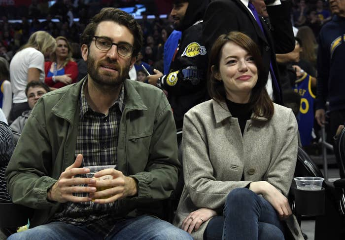 Emma Stone and Dave McCary attend the Golden State Warriors and Los Angeles Clippers basketball game at Staples Center on January 18, 2019, in Los Angeles, California