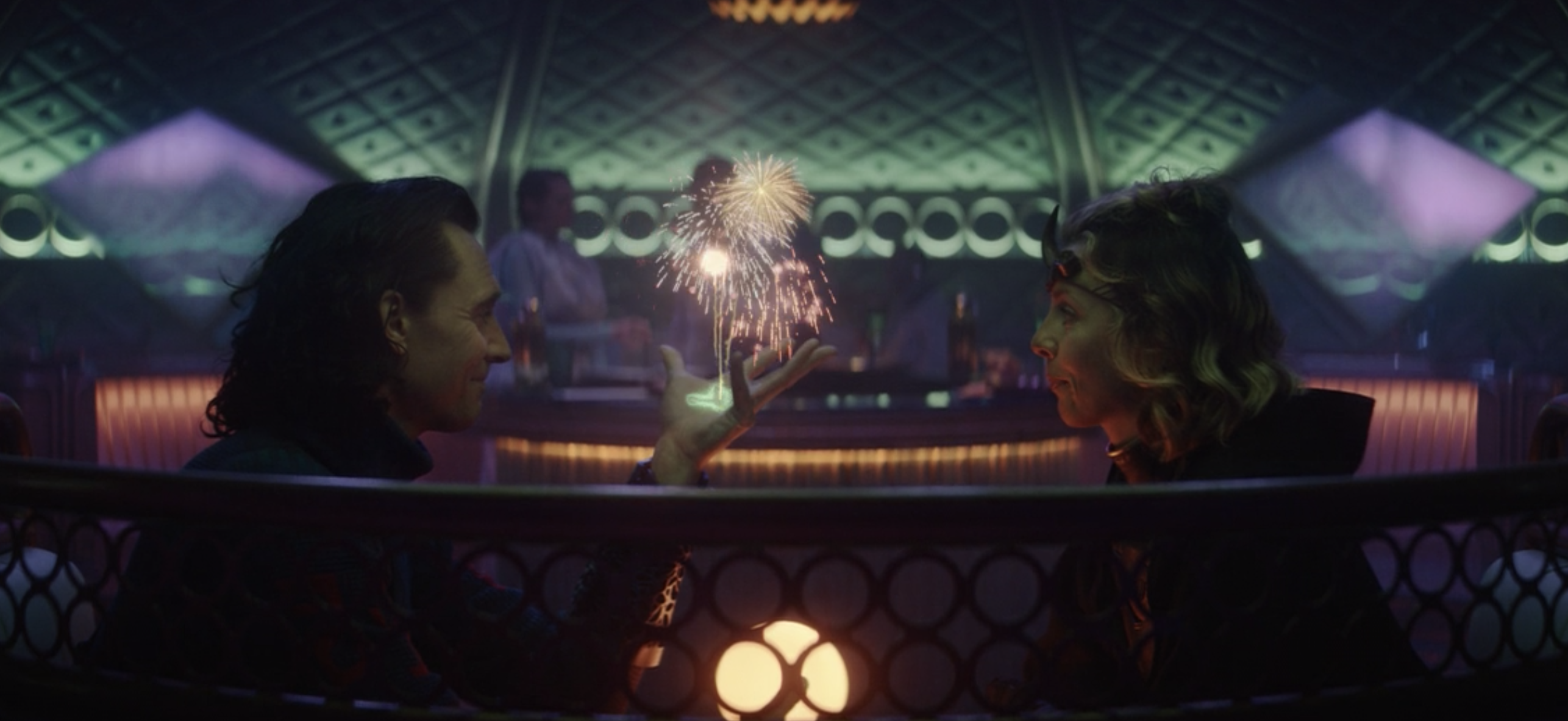 Loki making fireworks appear in his palm as he talks to Sylvie