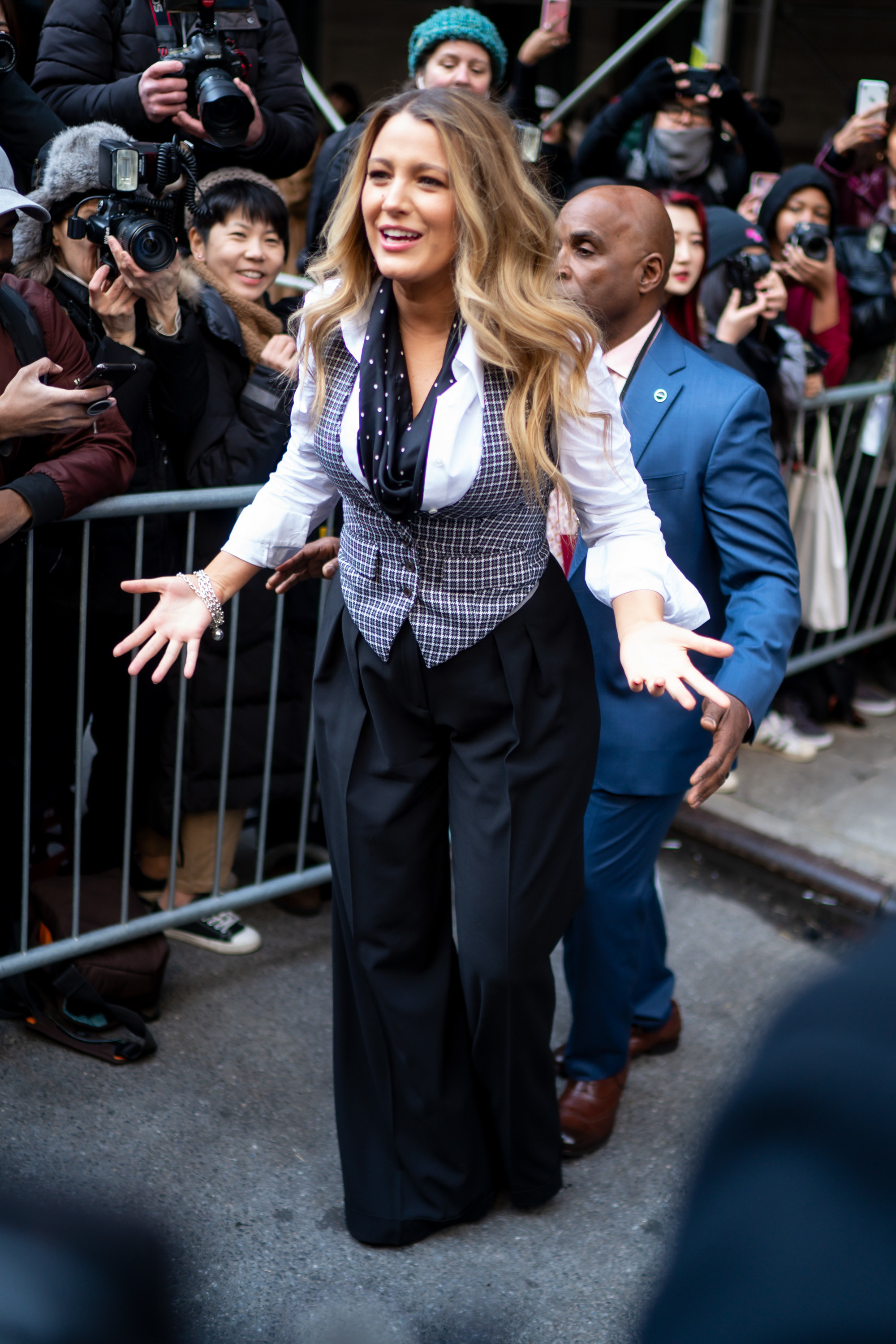 Blake Lively departs the Michael Kors fashion show at the American Stock Exchange on February 12, 2020, in New York City