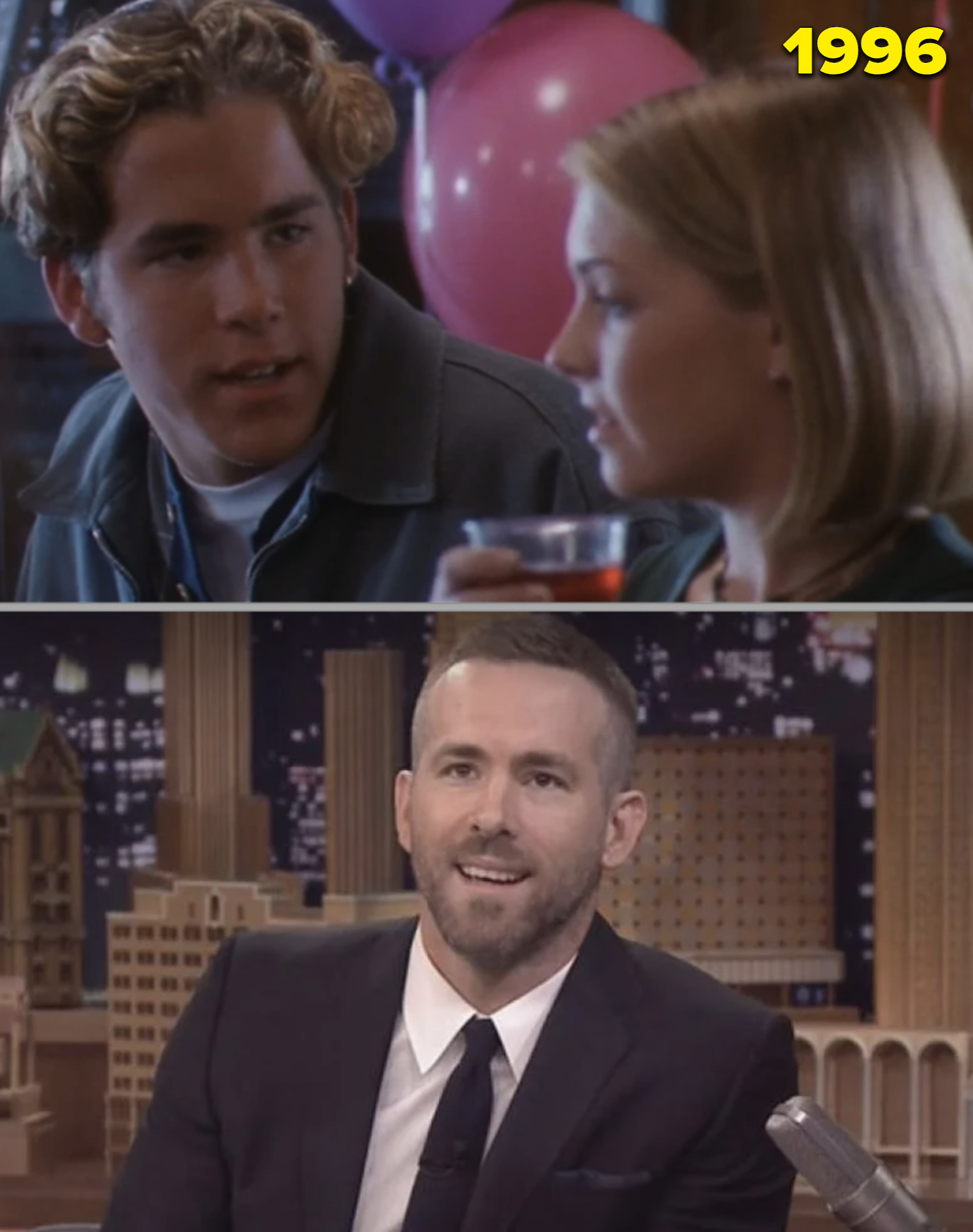Ryan Reynold with Sabrina vs. him as an adult being interviewed