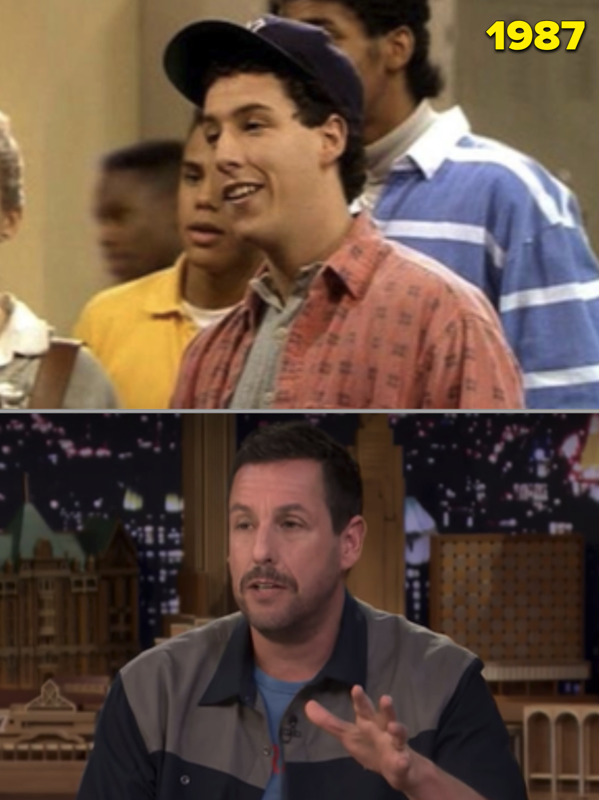 """Sandler in his early 20s on """"The Cosby Show"""" vs. him as an adult on """"The Tonight Show"""""""