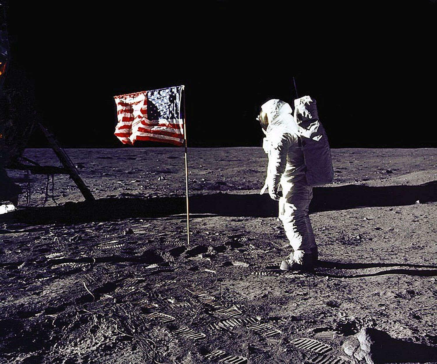 Buzz Aldrin just after planting a flag on the moon