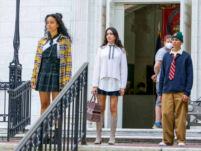 """Actors Whitney Peak, Zion Moreno, and Evan Mock are pictured filming the """"Gossip Girl"""" reboot"""